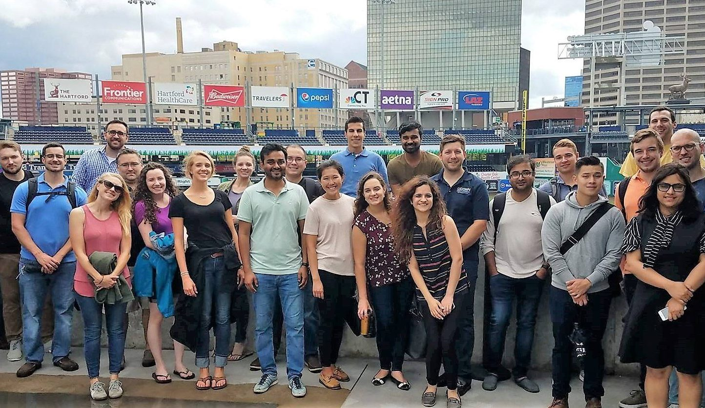 students tour the yardgoats baseball field